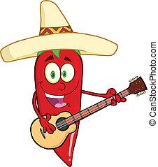 pimenta pimenta-malagueta vermelha, tocando, um, guitarra
