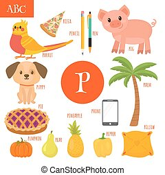 pimenta, pizza, letra, alfabeto, papagaio, abóbora, torta, caricatura, filhote cachorro, pêra, p., telefone, children., palma, porca, caneta, abacaxi, travesseiro, lápis