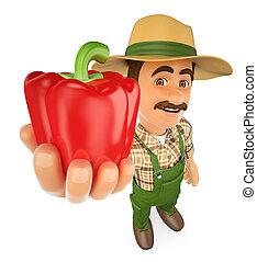 pimenta, seu, agricultor, colheita, vermelho, 3d