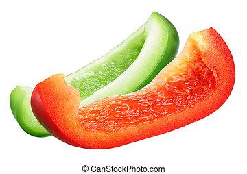 pimenta, sino, verde vermelho, fatias