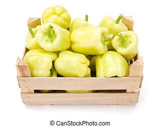 pimentas, (capsicum, amarela, annuum), sino