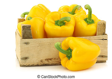 pimentas, (capsicum), amarela, sino
