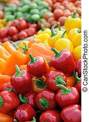 pimentas, coloridos, sino