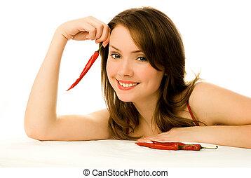 pimentas, excitado, pimentão, mulher, vermelho