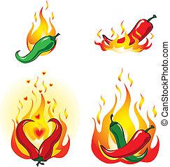 pimentas, fogo, pimentão