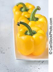 pimentas, fresco, amarela, sino