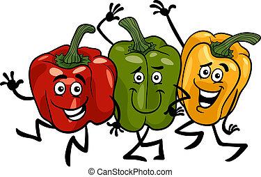pimentas, legumes, grupo, caricatura, ilustração