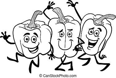 pimentas, legumes, tinja livro, caricatura