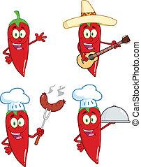 pimentas, pimentão, cobrança, vermelho, 1