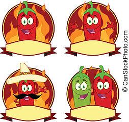 pimentas, pimentão, etiquetas, mexicano