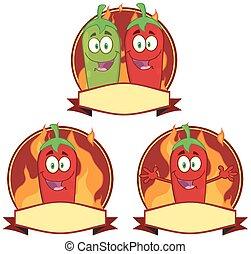 pimentas, pimentão, mexicano, etiqueta