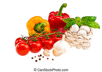 pimentas, tomates, garlic.