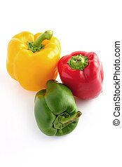 pimentas, verde, amarela, vermelho