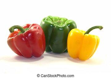 pimentas, vermelho, verde, amarela, sino