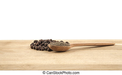 pimento, in, uno, cucchiaio legno, su, il, legno, tavola