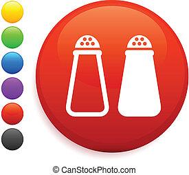 pimienta, botón, internet, sal, redondo, icono