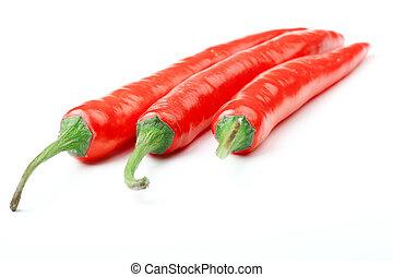 pimienta chili, aislado, en, white.