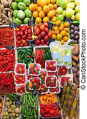 pimienta chili, y, vegetales, en, mercado