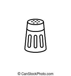 pimienta, contorno, coctelera, sal, o, icono