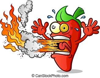 pimienta, fuego de respiración, caliente, caricatura