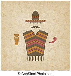 pimienta, mexicano, tequila, chile, hombre