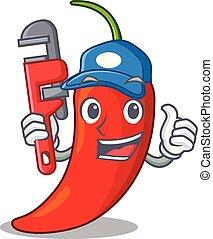pimienta, plomero, aislado, chile, rojo, mascota