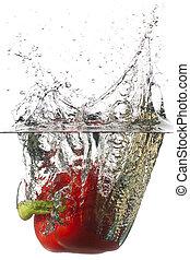 pimienta roja, formaciónde filas, un, agua
