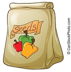 pimienta, semillas, paquete, campana