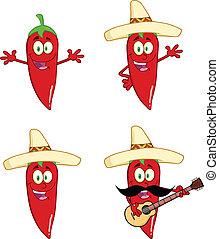 pimientas, chile, 2, rojo, colección