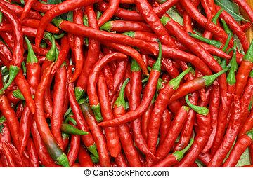 pimientas, chile caliente, rojo
