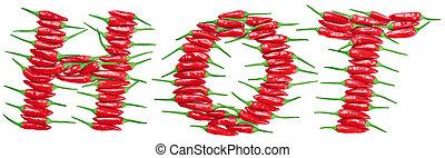 pimientas, letras, chile caliente, rojo