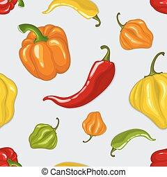 pimientas, patrón, chile, vector, seamless