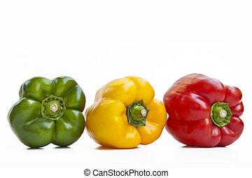 pimientas, tres, coloreado