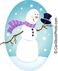 pimpant, bonhomme de neige