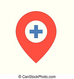 pin and cross, location sign, medical and hospital related flat design icon set