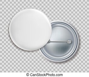 Pin badges. Blank round metal button badge or brooch vector ...