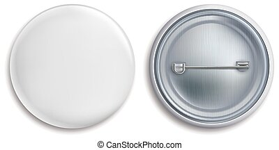 Pin badges. White round blank button, advertise metal 3d ...