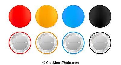 Pin badges. White round blank button. Souvenir magnet badging mockup. Vector stock illustration.