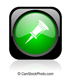 pin black and green square web glossy icon
