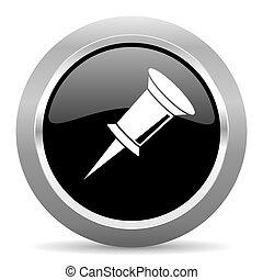 pin black metallic chrome web circle glossy icon
