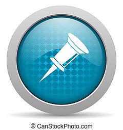 pin blue circle web glossy icon