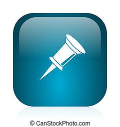 pin blue glossy internet icon