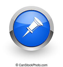 pin blue glossy web icon
