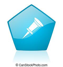 pin blue pentagon web glossy icon