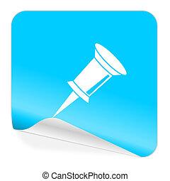 pin blue sticker icon