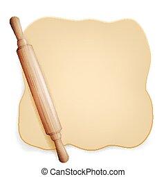 pin., bread., 隔離された, イラスト, 回転, 生地, vector., パンフレット, ∥あるいは∥, element., ピザ