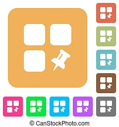 Pin component flat icons on rounded square vivid color backgrounds.