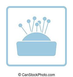 Pin cushion icon. Blue frame design. Vector illustration.