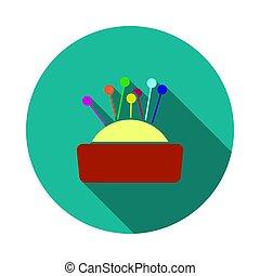 Pin Cushion Icon. Flat Circle Stencil Design With Long Shadow. Vector Illustration.