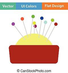 Pin cushion icon. Flat color design. Vector illustration.